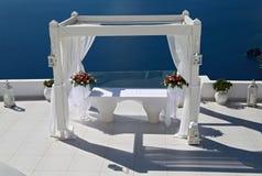 Украшение свадьбы на Santorini, Греции Стоковая Фотография RF