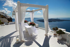 Украшение свадьбы на Santorini, Греции Стоковые Фотографии RF