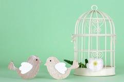 Украшение свадьбы: 2 птицы рядом с белой клеткой птицы Стоковые Изображения