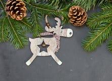 Украшение северного оленя рождества деревянное Стоковая Фотография