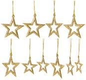 Украшение смертной казни через повешение звезды рождества, Новый Год сверкнает установленными звездами Стоковое Изображение RF