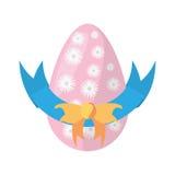 украшение смычка цветков пасхального яйца иллюстрация вектора