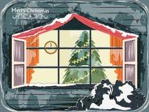 Украшение сосны для счастливого Нового Года и с Рождеством Христовым приветствия иллюстрация вектора