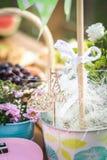 Украшение таблицы партии пикника: корзины с плодоовощами на деревянном столе, цветках, розовой малой гитаре и pinwheel Селективны стоковая фотография rf