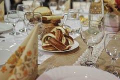 Украшение 3 таблицы еды ресторанного обслуживании установленное Стоковое фото RF