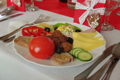 Украшение 5 таблицы еды ресторанного обслуживании установленное Стоковое фото RF