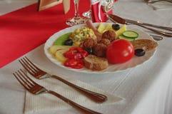 Украшение 4 таблицы еды ресторанного обслуживании установленное Стоковое Фото