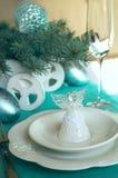 Украшение таблицы Нового Года ans рождества с Анджелом Стоковое Изображение RF