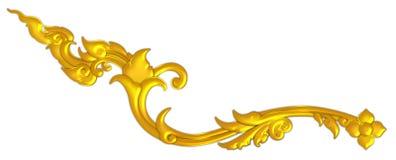 Украшение тайского искусства античное золотое в изолированной картине стиля тайского виска тайской Стоковое Изображение RF