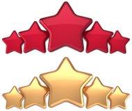 Украшение успеха награды золота обслуживания 5 звезд красное золотистое Стоковые Изображения RF