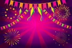 Украшение фейерверков фестиваля Festa Junina масленицы иллюстрация вектора