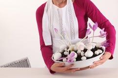 Украшение цветка для пасхи Стоковая Фотография