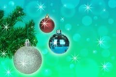 Украшение шариков рождества на абстрактной предпосылке bokeh стоковые фотографии rf