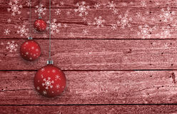 Украшение шариков Xmas установленное на деревянной предпосылке Стоковая Фотография