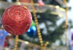 Украшение Cristmas, красный шарик Стоковое Изображение RF