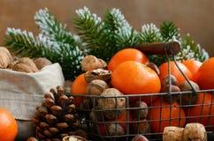 Украшение Xmas с tangerines, гайками и хворостинами сосны Стоковые Изображения