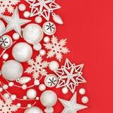 Украшения безделушки рождества серебряные Стоковое Фото