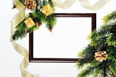 Украшения деревянных рамки бумажные и рождества Стоковое фото RF