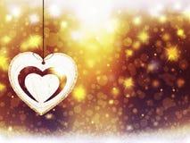 Украшения звезд снега сердца желтого цвета золота рождества предпосылки голубые запачкают Новый Год иллюстрации Стоковое фото RF