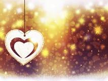 Украшения звезд снега сердца желтого цвета золота рождества предпосылки запачкают Новый Год иллюстрации Стоковая Фотография