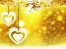 Украшения звезд снега сердца желтого цвета золота рождества предпосылки запачкают Новый Год иллюстрации Стоковые Фото