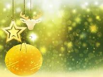 Украшения звезд снега шарика оленей сердца желтого цвета зеленого цвета золота рождества предпосылки запачкают Новый Год иллюстра Стоковые Фотографии RF