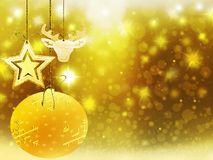 Украшения звезд снега шарика оленей сердца желтого цвета золота рождества предпосылки запачкают Новый Год иллюстрации Стоковые Фото