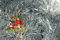 Украшения золотого серебра оленей пушистые Стоковые Изображения