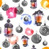 Украшения и лампы рождества Стоковые Фотографии RF