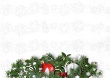 Украшения и ель рождества на белой текстурной предпосылке Стоковые Фото
