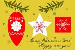 Украшения на sprigs, стиль рождественской елки дизайна, поздравительная открытка с с Рождеством Христовым и счастливым Новым Годо иллюстрация штока