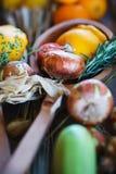 Украшения от овощей и плодоовощей во время торжества oktoberfest Стоковая Фотография
