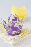 Украшения пирожного с свечами Стоковое фото RF