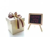 Украшения подарочной коробки с лентой золота Стоковое Фото
