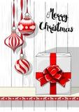 Украшения праздников повода, рождества и большая белая подарочная коробка с красной лентой, иллюстрацией Стоковая Фотография RF