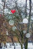 Украшения рождества вися на дереве в парке Стоковое Изображение RF
