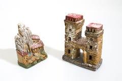Украшения рождества, дома сцены рождества изолированные в белизне стоковое изображение rf
