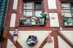 Украшения рождества домов в Германии Праздновать Новый Год и рождество рождество веселое Стоковая Фотография