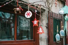 Украшения рождества домов в Германии Праздновать Новый Год и рождество рождество веселое Стоковые Изображения RF