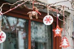 Украшения рождества домов в Германии Праздновать Новый Год и рождество рождество веселое Стоковое Изображение RF