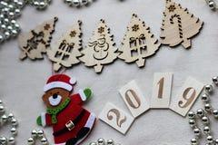 Украшения рождества и символ года 2019 стоковое фото rf