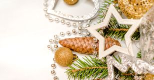 Украшения рождества на белой предпосылке Стоковое Изображение RF