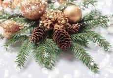 Украшения рождества на деревянной предпосылке Стоковая Фотография