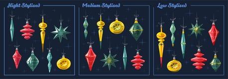 Украшения рождества с лентой и смычком alien кот шаржа избегает вектор крыши иллюстрации иллюстрация вектора