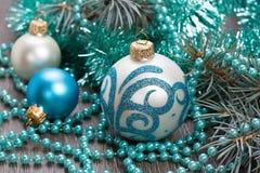 украшения рождества шариков шариков голубые Стоковые Фото