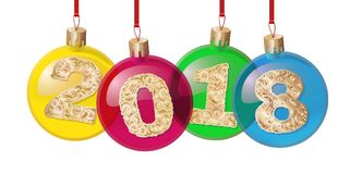 Украшения рождественской елки изолированные на белой предпосылке vector иллюстрация текст сделанный по образцу золотом 2018 зима  Стоковое Изображение RF