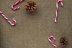 Украшения рождества: взгляд сверху тросточек конфеты и Стоковое Изображение