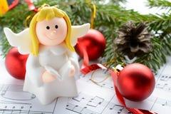 Украшения рождества, диаграммы ангелов и примечания Стоковые Фотографии RF