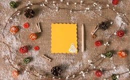 украшения рождества карточки приветствуя над взглядом Стоковое Изображение RF