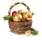 Украшения рождества на белой предпосылке стоковые фотографии rf